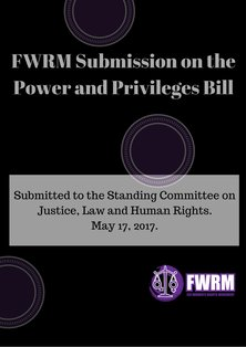 FWRM Submission on the Power and Privileges Bill
