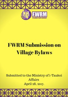 FWRM Submission on Village By-Laws